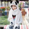 冬季加厚卡通保暖熊猫帽子围巾长款手套